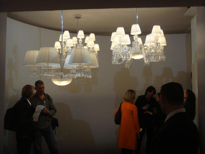 BACCARAT Party/presentation with new quest mingling under new design chandeliers.
