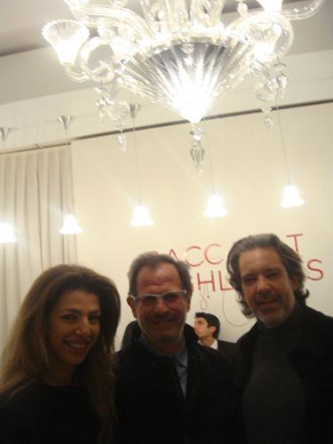 At the Baccarat presentation Designer Mathias with Architect Pavlos Antoniades and Christiana.